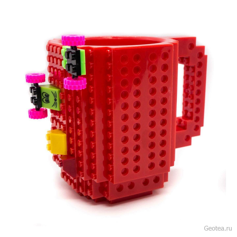 Кружка в стиле Лего 350 мл. красная с мини набором