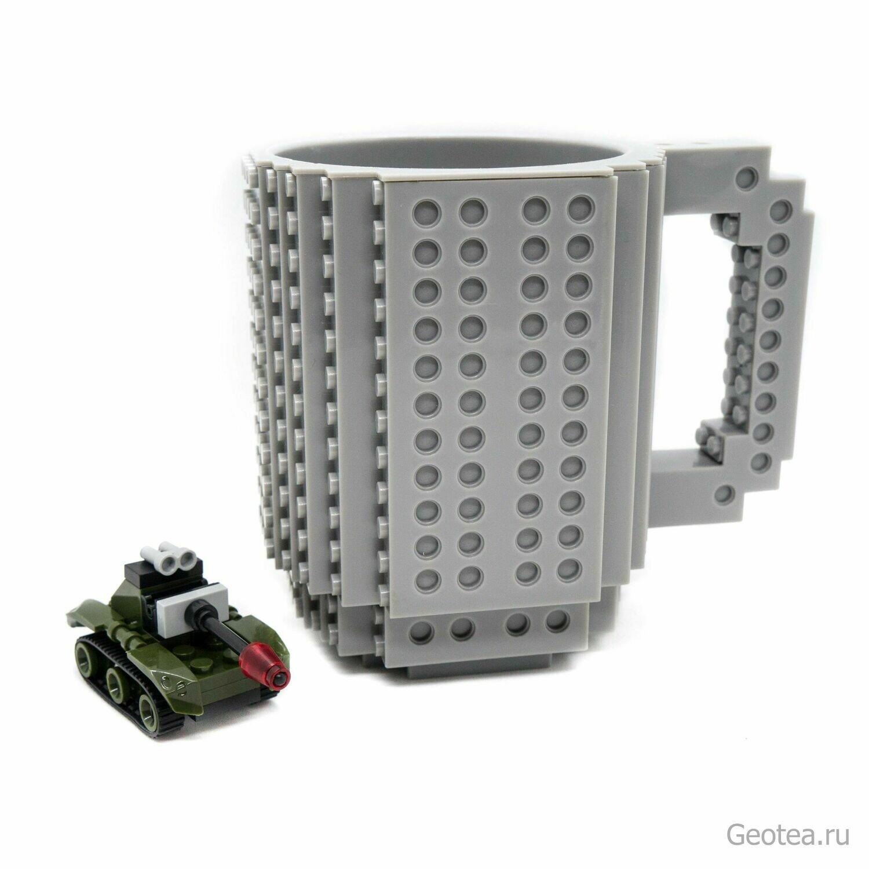 Кружка в стиле Лего 350 мл. серая с мини набором