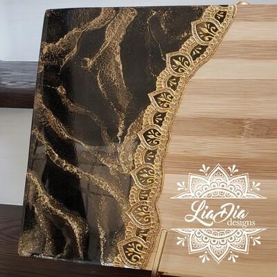 Golden Border on Black Marble - Bamboo Serving Board