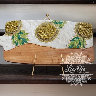 Dancing Pineapples Resin Geode Style Charcuterie Cheese Paddle Board