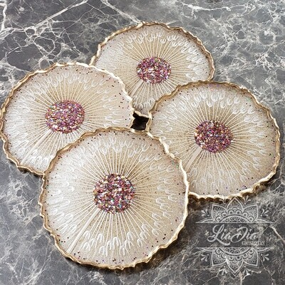 Golden Dandelion Coasters - Set of 4