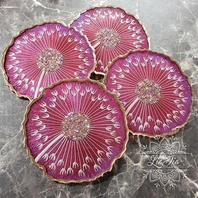 Mystic Fire Dandelion Coasters - Set of 4