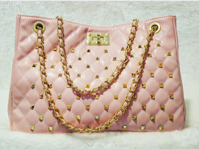 Rivet Chain Quilted Fashion Stitch Sac Pursenality Bag (Pink)
