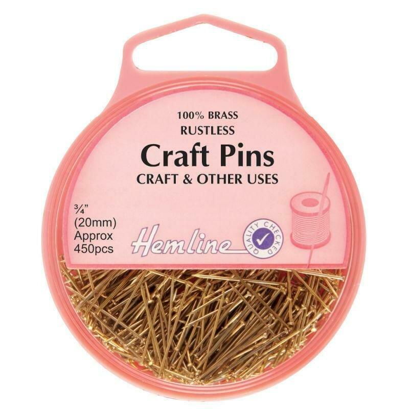 Hemline Craft Brass Pins 450pkt  (712)