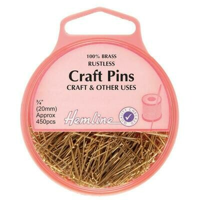 Hemline Craft Brass Pins 450pkt  (712)
