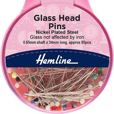 Hemline Glass Head Pins 95pc (679)