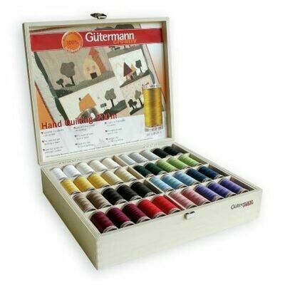 Gutermann Hand Quilting Thread 200m Album 80reel Timber Box
