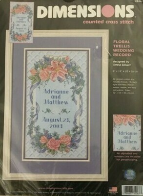 Dimensions Floral Trellis Wedding Record (35067)
