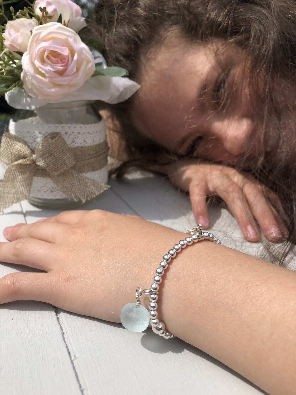 Children's Sterling Silver Ball Bracelet For Charms