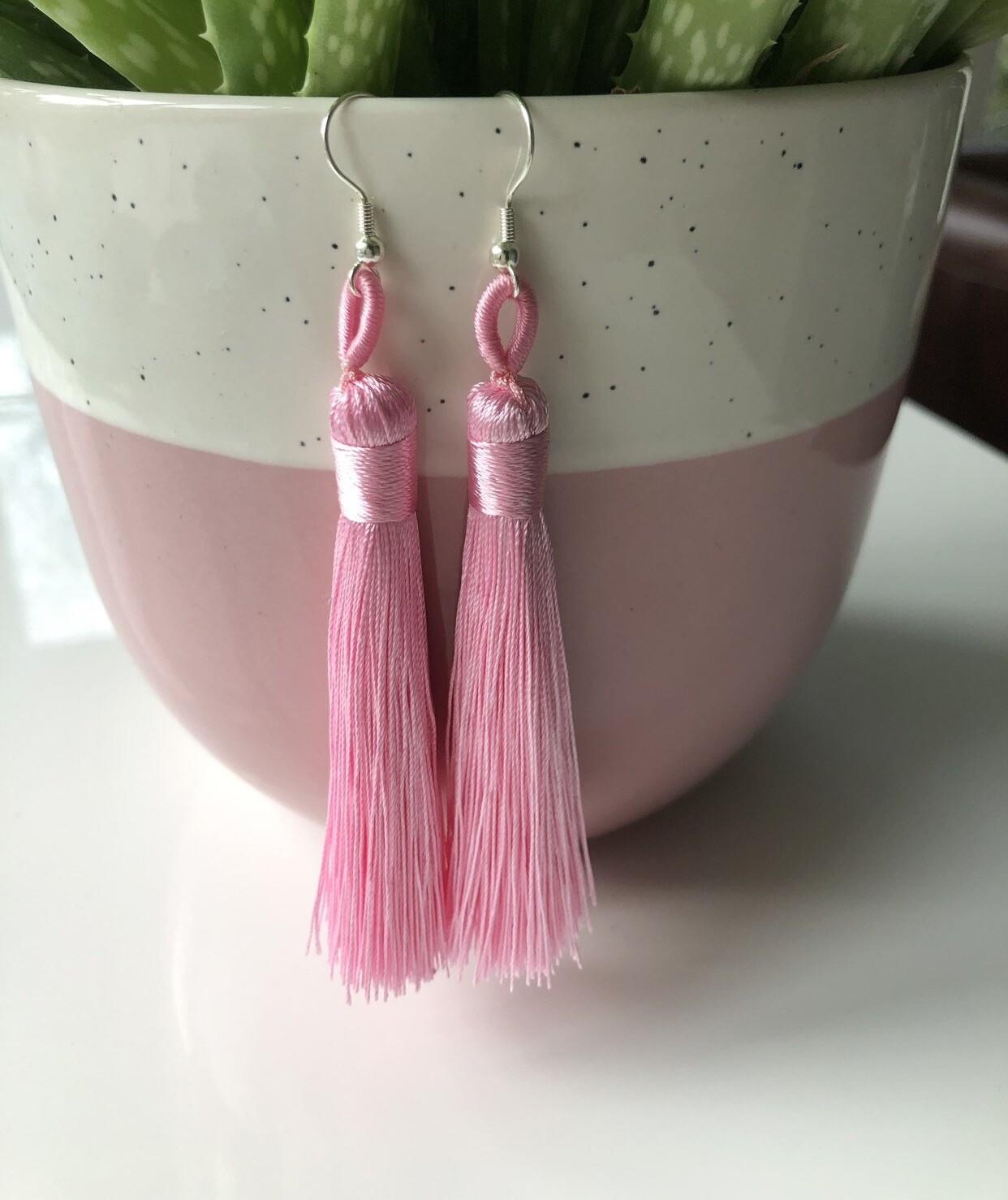 Sterling silver pink tassel earrings