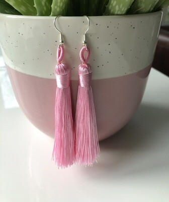 Sterling silver pink tassel earrings