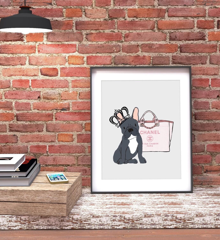 Dog and Handbag Design Print