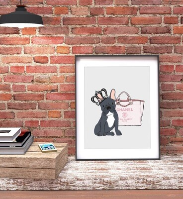 Dog and Handbag Design Print