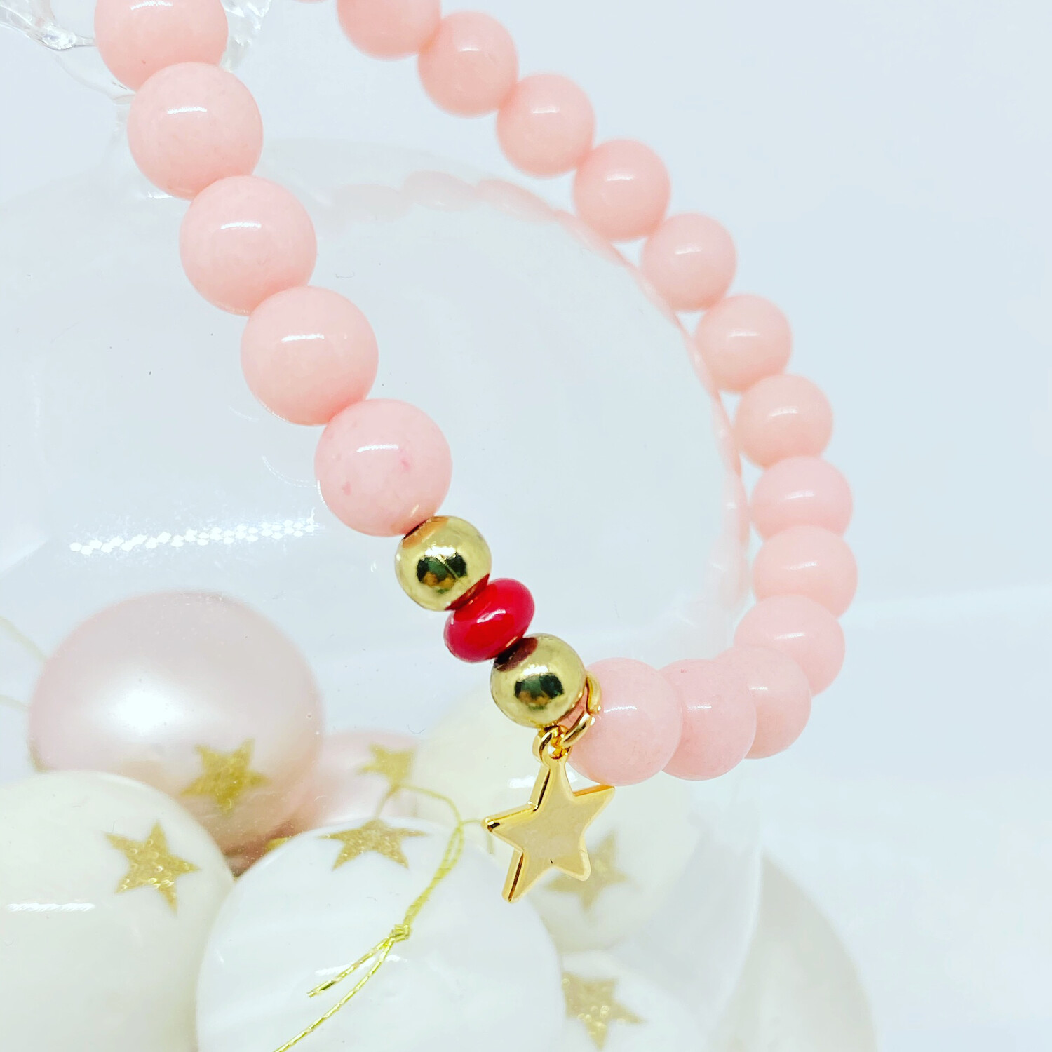 Gold Star Bracelet with Baby pink And Red Beads. Handmade.