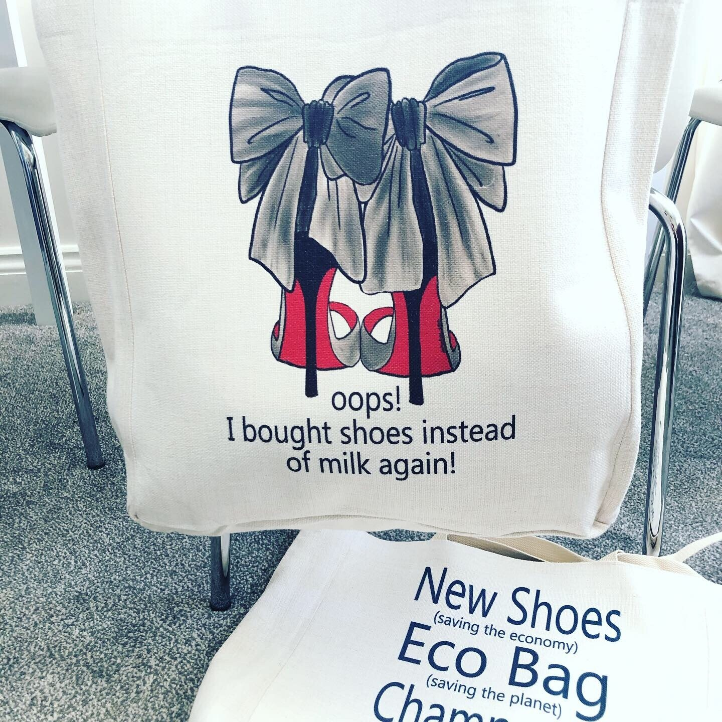 Eco Friendly Large Canvas Shopping Bag for Shoe Lovers with Champagne Quote