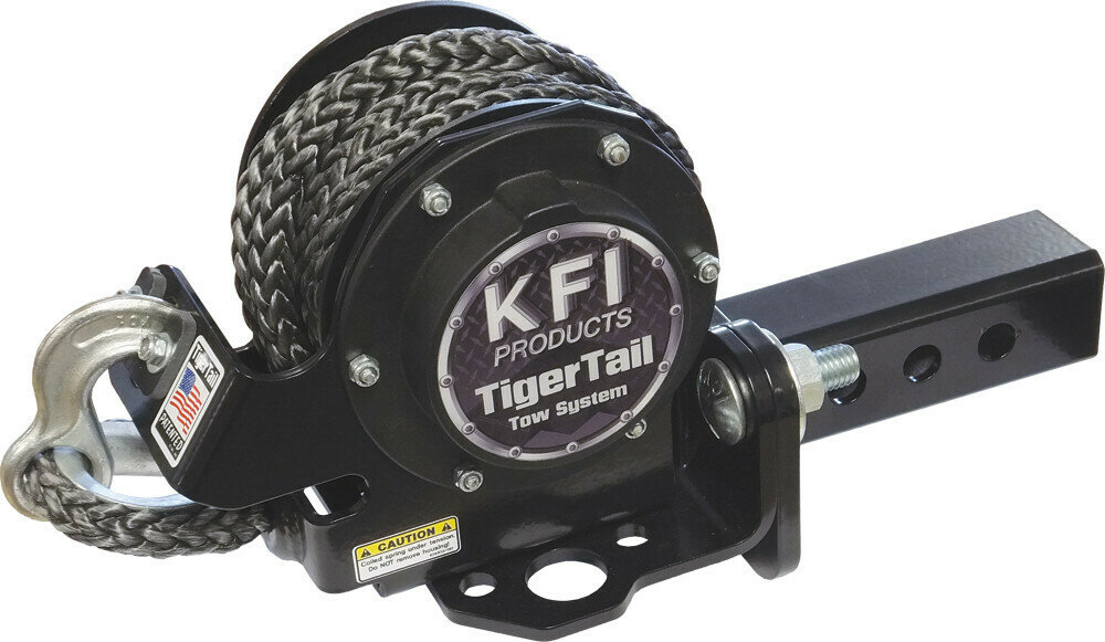 """KFI Tiger Tail 12' Tow Rope System ATV/UTV 2"""" Receiver Hitch Retractable (101100, 30-1100)"""