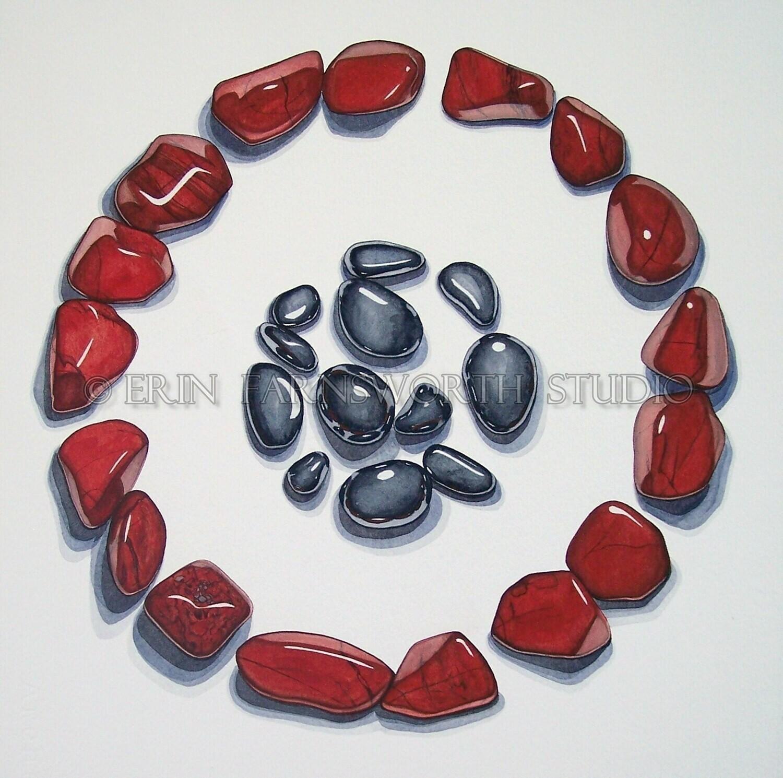 """""""Red Jasper and Hematite Circles"""" 8.5 x 11 print"""