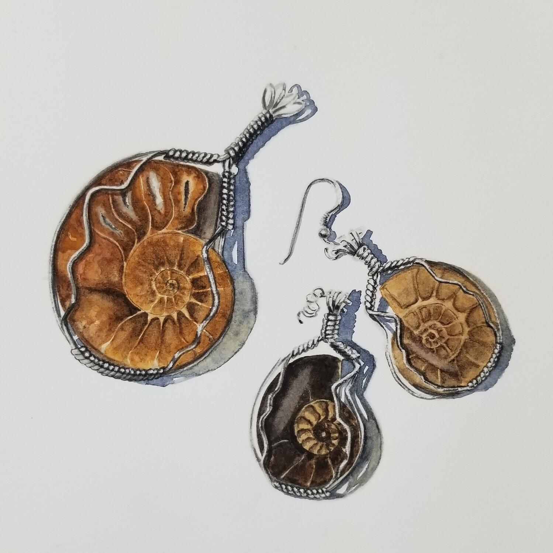 """Ammonite Jewelry"" original watercolor painting"
