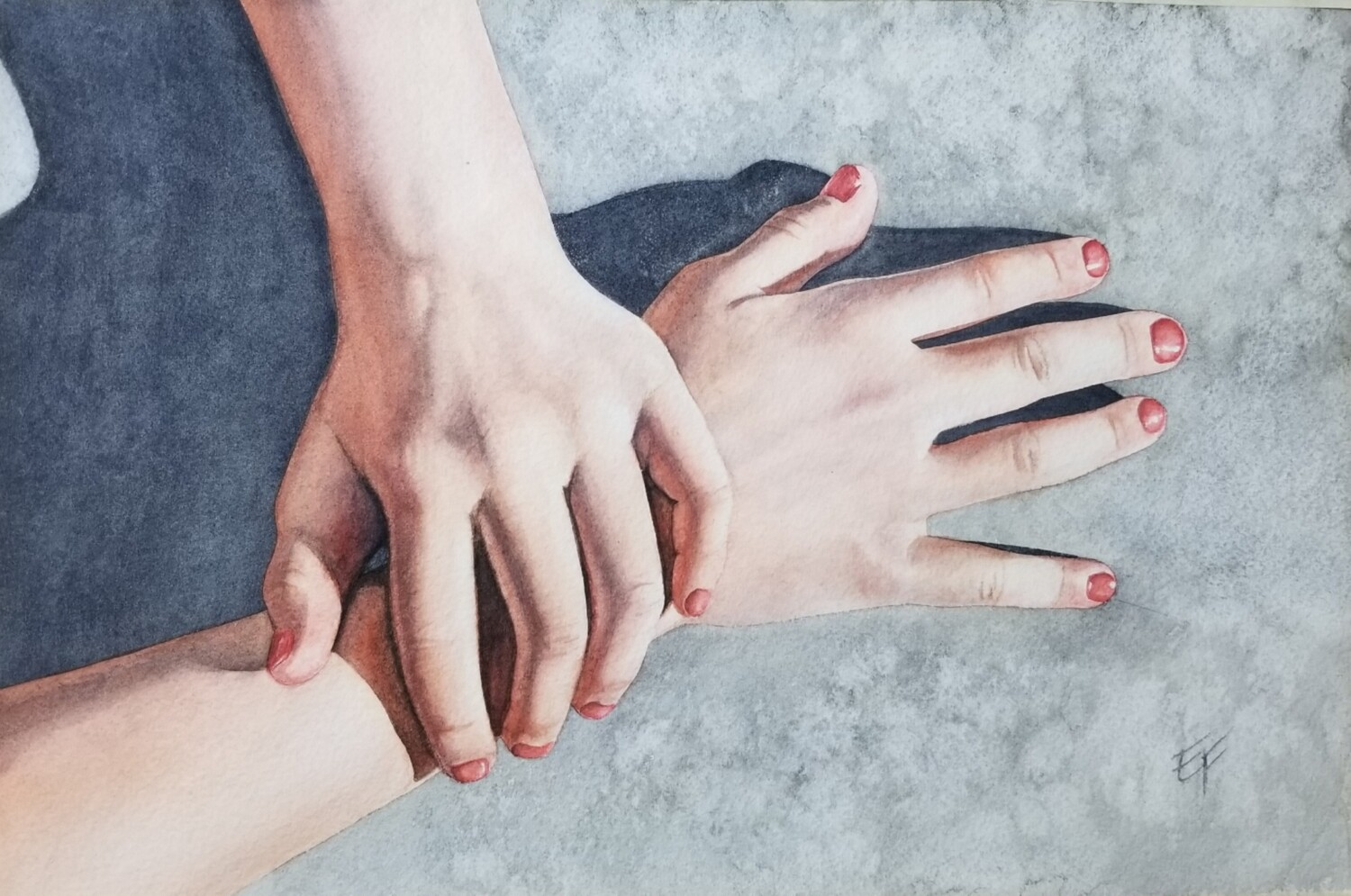Seven year old hands #2 original watercolor on paper