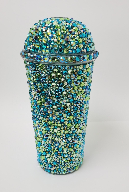 20oz Swarovski Crystal, Dome Lid, Cup and Straw. Greens