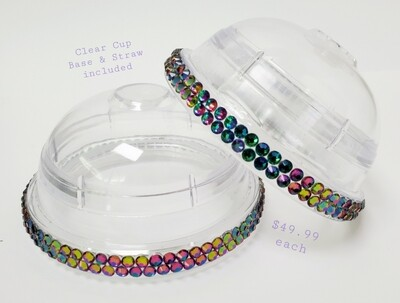 20oz KIRAKIRA Glass Rhinestones, Dome Lid, with CLEAR Cup and Straw. Green Flame Trim