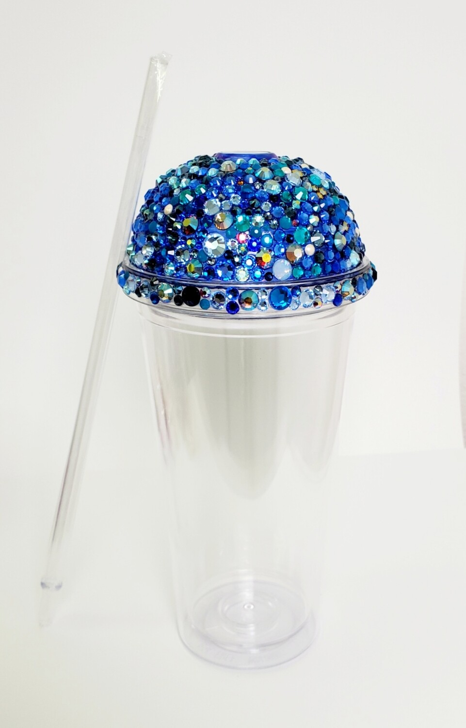 20oz Swarovski Crystal, Dome Lid, with CLEAR Cup and Straw. Blue Mix