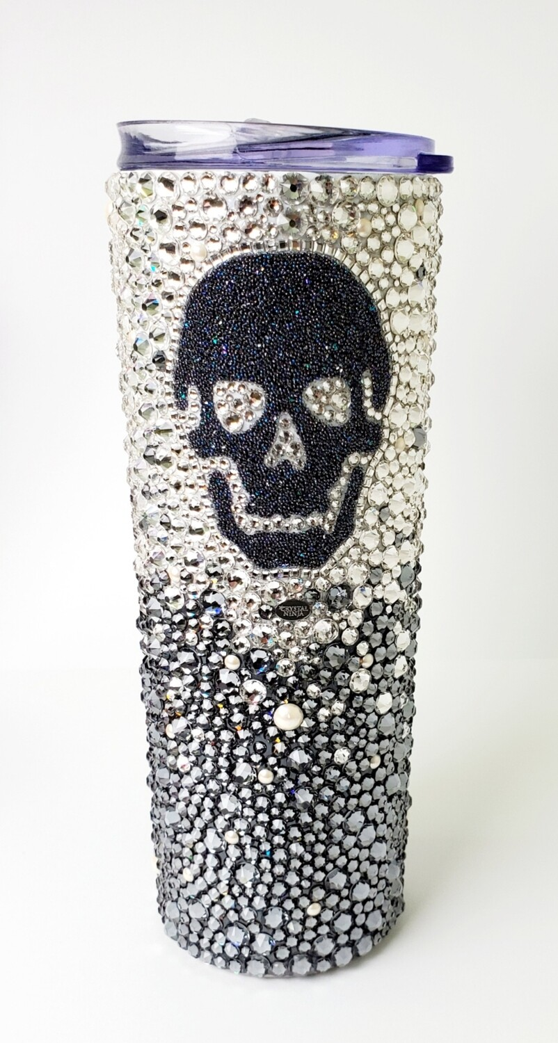 20oz Steel Magnolia Tumbler, with Swarovski Skull Crystal, Cup, Lid and Clear Straw.