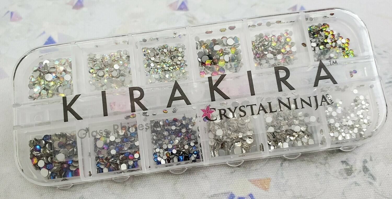 KiraKira Assortment 2080pc. Box4: Blue Flame, Clear, Clear AB, Rainbow
