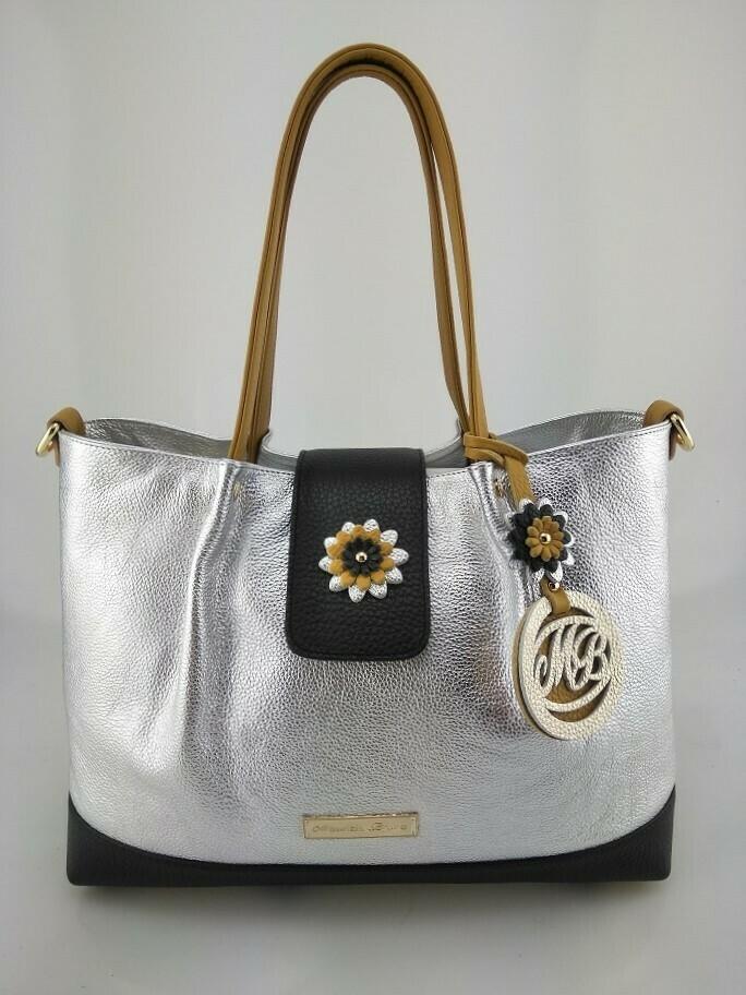 Shopper Bag Mod.  Mirtilla Silver/Black/Mustardcolor