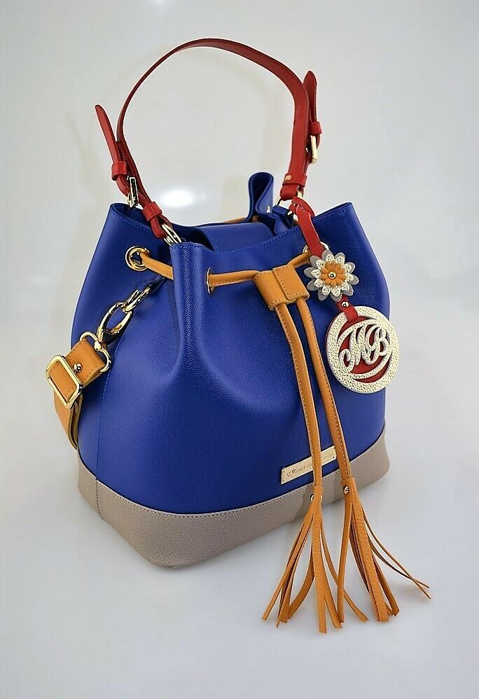 Bucket Bag Mod. Bambù, Medium Size, Deep Blue