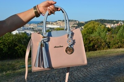 Bag Mod. Audrey – Rigid Hand Bag  in natural Leather saffiano