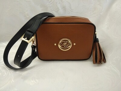 Bag Mod. Anna/1 –Crossbody Bag Natural Leather/ Black contrast