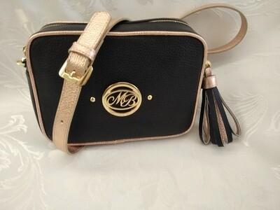 Bag Mod. Anna/2 –Crossbody Bag Black Leather/ Metallic Pink contrast