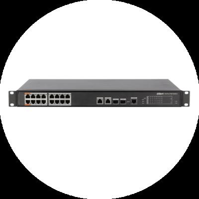 Управляемый 16-портовый Fast Ethernet РоЕ-коммутатор Dahua DH-PFS4218-16ET-190