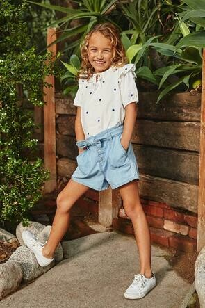 Girls Paper-Bag Shorts