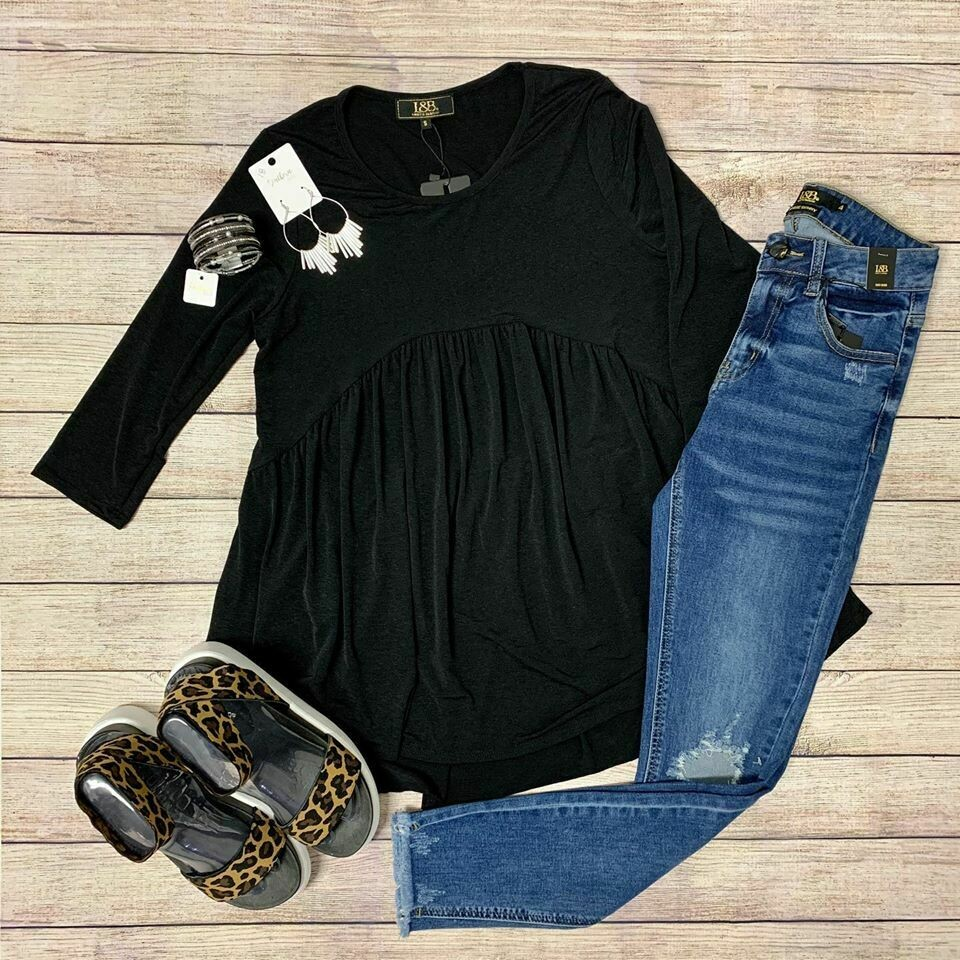 Lucky & Blessed Black Tunic