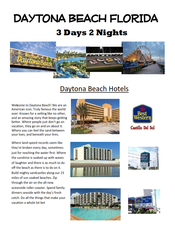 3 Days 2 Nights Daytona Beach Florida  worlds most famous beach