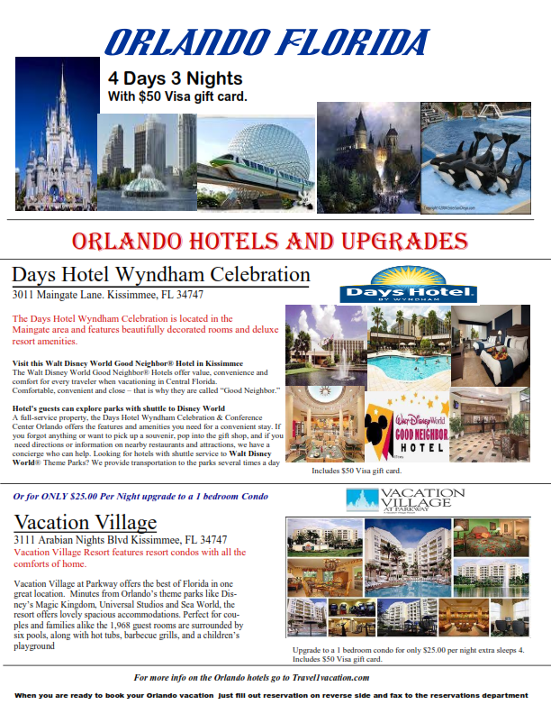 4 Days 3 Nights Orlando Florida minutes from all the theme parks! Save big Special ONLY! $168.00