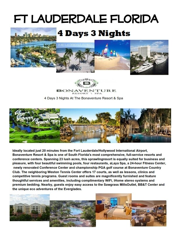4 Days 3 Nights Fort Lauderdale Luxury Bonaventure Resort & Spa Special Save big now ONLY! $179.00