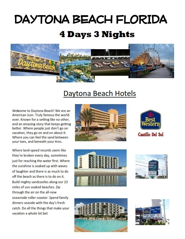 4 Days 3 Nights Daytona Beach Florida Oceanside resort SPECIAL ONLY $179.00!
