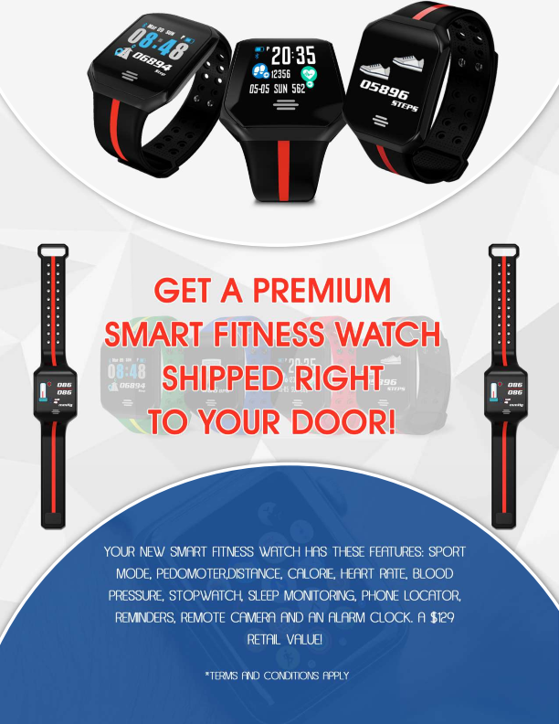 Smart Fitness Watch RETAIL VALUE: $129.00 ONLY! $6.95 + Shipping and handling.