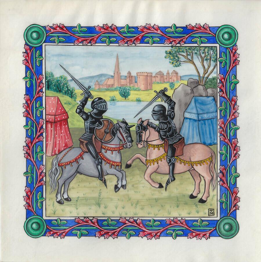 Knights battling