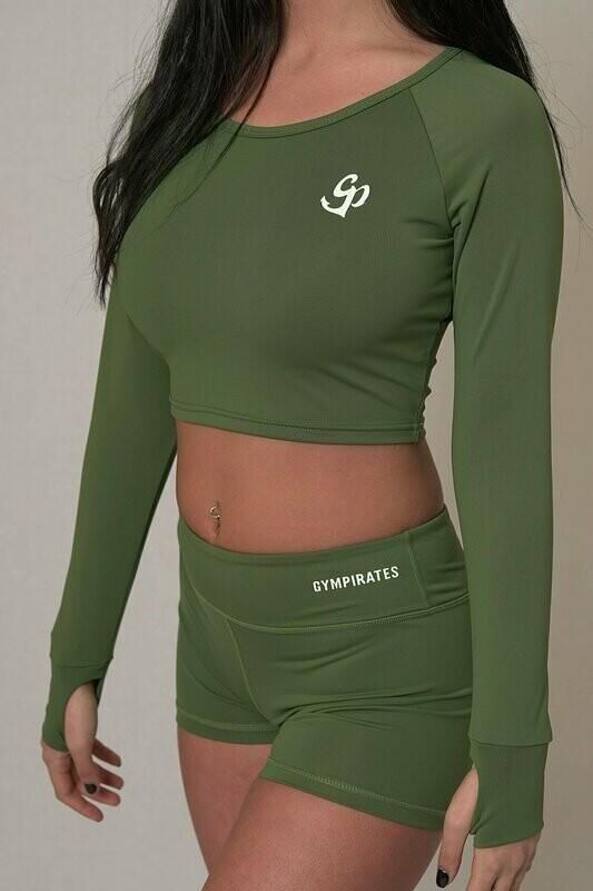 Long Sleeve Crop Top - Kale Green