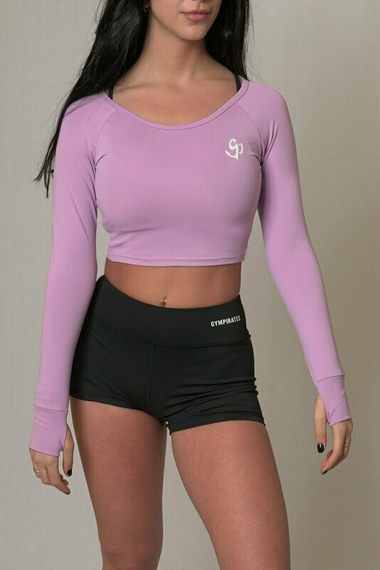 Long Sleeve Crop Top - Light Purple