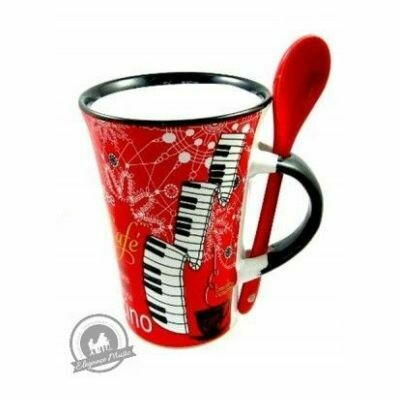 Cappuccino Mug With Spoon - Piano (Red)