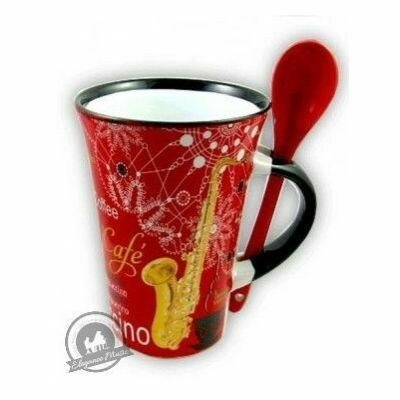 Cappuccino Mug With Spoon - Saxophone (Red)
