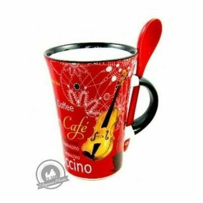 Cappuccino Mug With Spoon - Violin (Red)