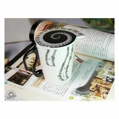 Mug And Lid (Vertical Music Staves)