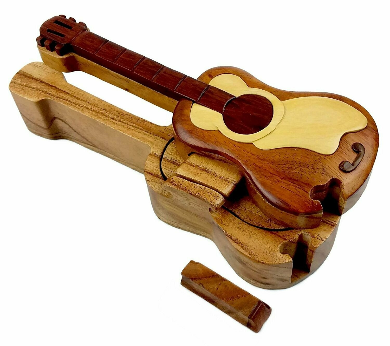 Wooden Puzzle Box - Guitar