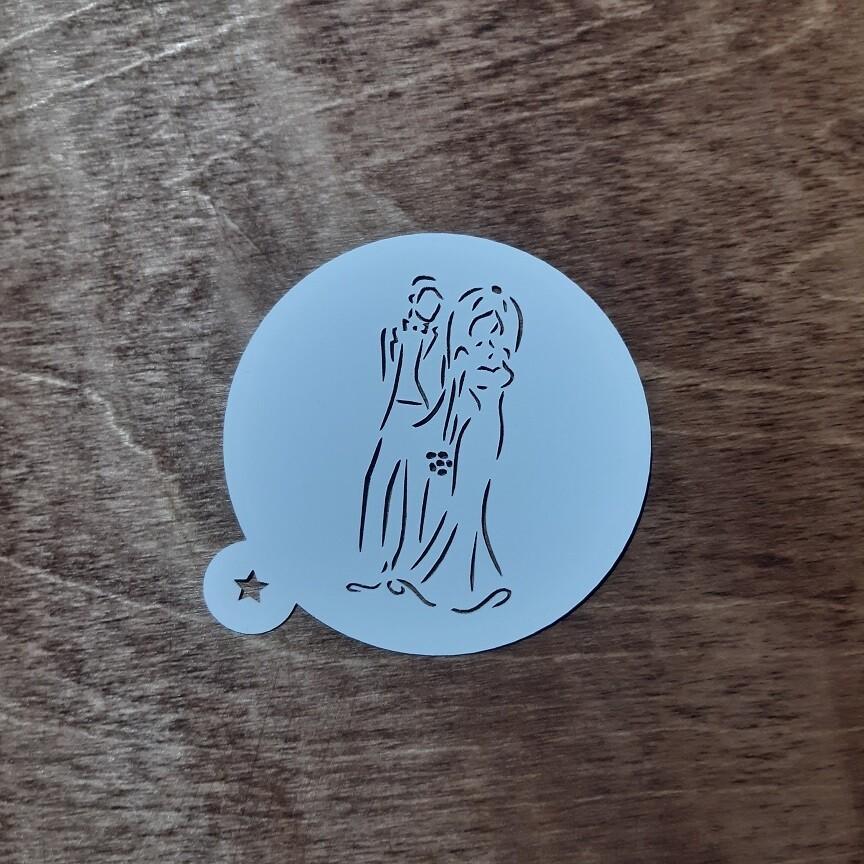 """Трафарет для пряников """"Жених и Невеста №1"""" (9 см)"""